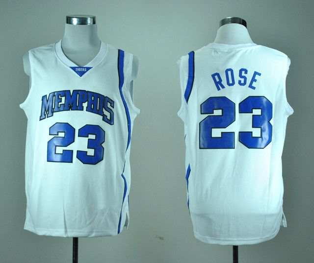timeless design 39514 a3adb 23 Derrick Rose Memphis Tigers White Blue College Basketball ...