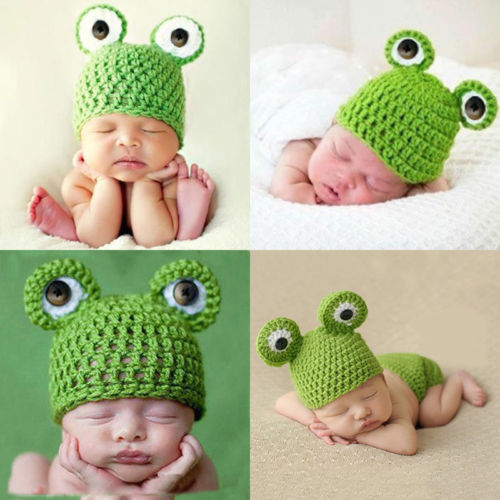 Costume Newborn Baby Kids Photography Prop Cap Boys Girls Knit Frog Crochet Hat newborn baby girls boys baseball crochet knit costume photography prop 0 4m