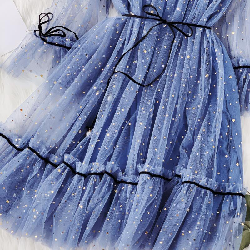 HISUMA spring autumn new women Star sequins gauze flare sleeve lace-up Princess dress female elegant o-neck mesh puff dresses 36