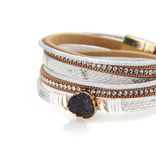 ZG Vintage Stone Crystal Charm Bracelets & Bangle For Woman Men Fashion Female Handmade Multilayer Leather Wristband Bracelet