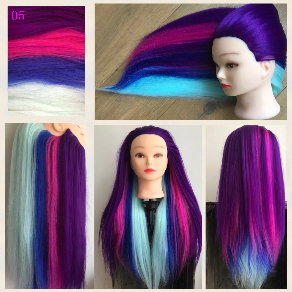 """Neverland 24"""" Synthetic Rainbow Purple Blue Hair Training Head Mannequin Head Hairdressing Braiding Styling+Table Clamp"""