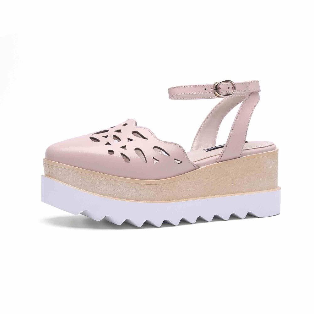 2019 nueva llegada de cuero de vaca tallado decoración hueco zapatos de plataforma de fondo grueso correa de tobillo tacones altos sandalias de cuña L56-in Sandalias de mujer from zapatos    3