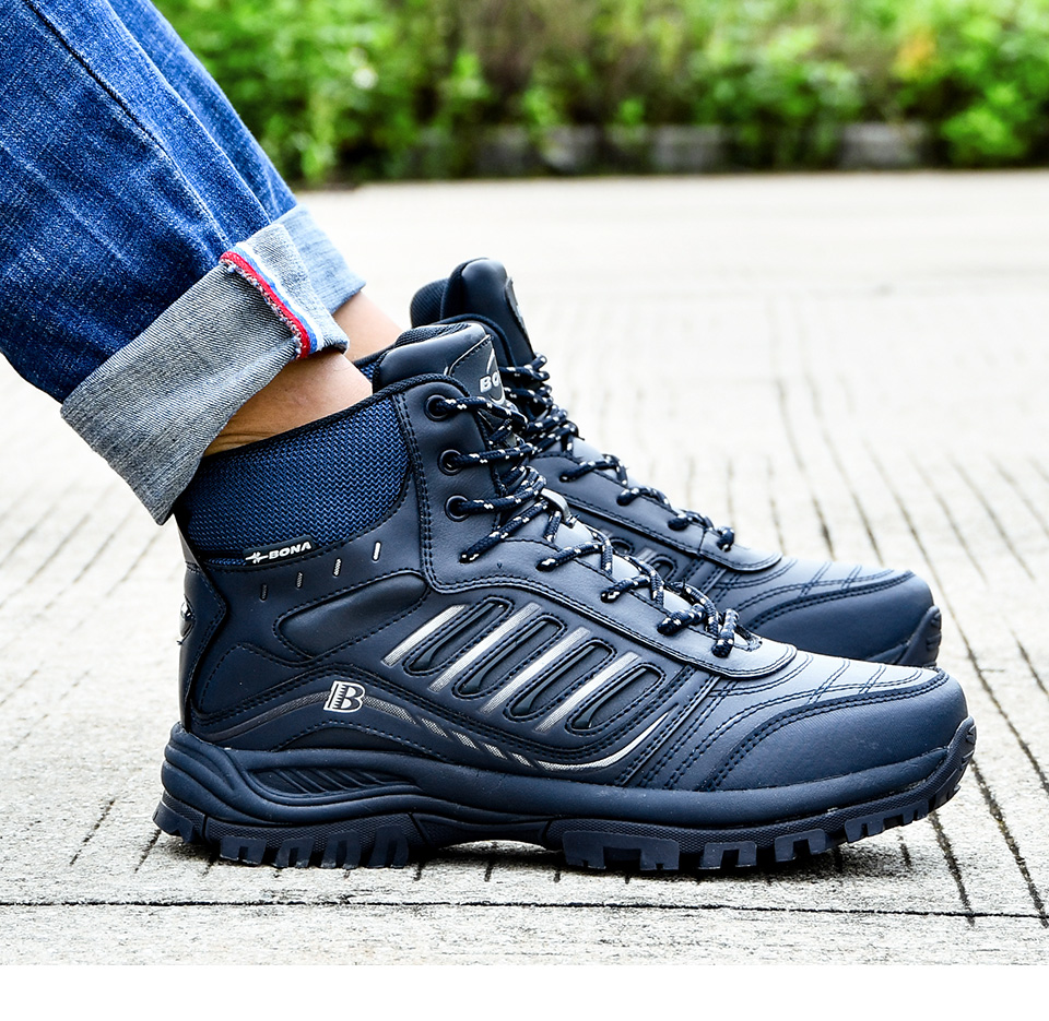 Hiking Shoes Mid-Top Split Leather Outdoor Sneaker Men Comfy Trekking Boots Men Trail Camping Climbing Hunting Sneakers