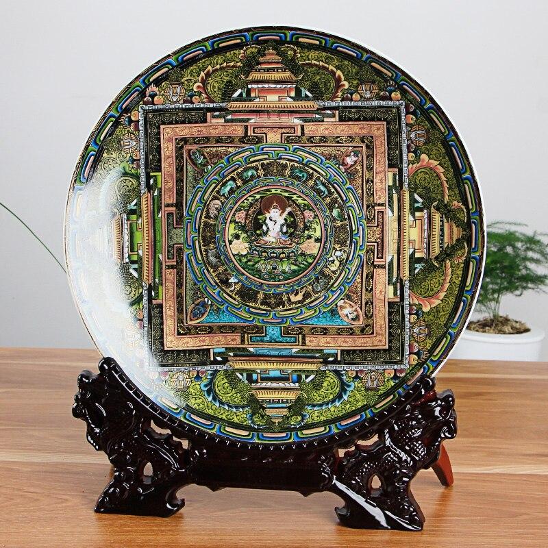 Jingdezhen-assiette décorative en porcelaine | Céramique tang-ga assiette suspendue, métope pour salon hôtel - 2