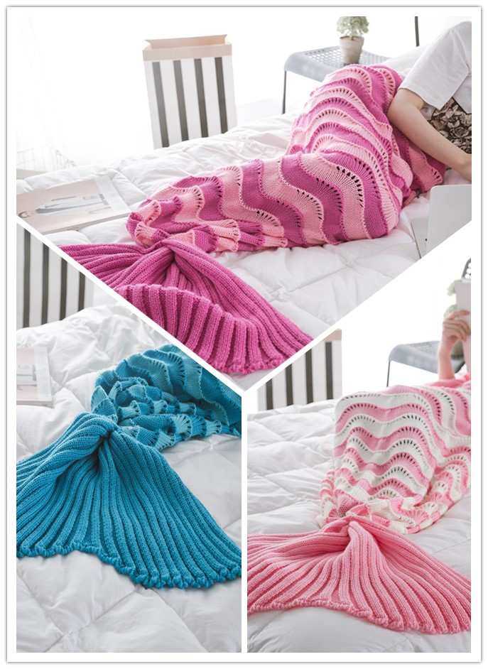 95cm195cm Stripe Large Mermaid Blanket Pattern Crochet Mermaid