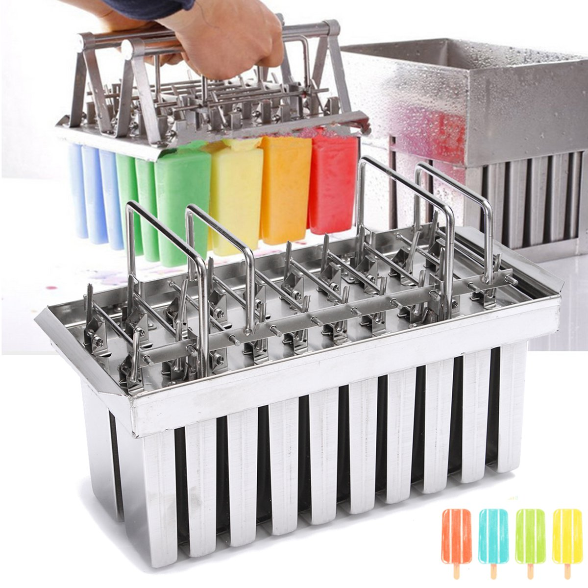 Stainless Steel Ice Pop Molds Machine Ice Lolly 20Pcs Popsicles Mould Stick Holder Home Kitchen Shop Ice Cream Maker Large