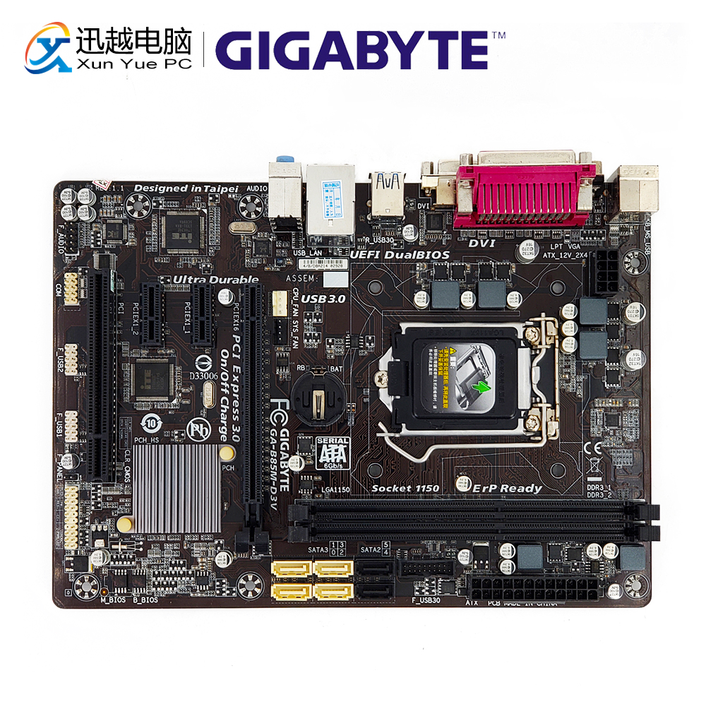 все цены на Gigabyte GA-B85M-D3V Desktop Motherboard B85M-D3V B85 LGA 1150 i3 i5 i7 DDR3 16G SATA3 USB3.0 Micro-ATX онлайн