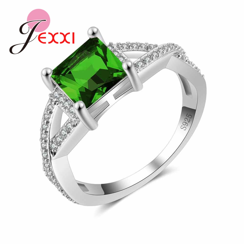 JEXXI Women Antique Classical Wedding Rings New Stylish Square Crystal Ring for Women Best Gift 925 Sterling Silver Cross Anel