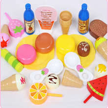 Play House Toys for Children Girls Plastic Ice Cream Toy Set Mini Simulation Food Kid Baby Pretend Play Game Educational Toys children s kitchen toys plastic simulation food pizza ice cream dessert fruit cutting pretend play early education toy for kids
