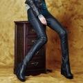 Осень зима pu кожаные штаны сапоги брюки тонкий карандаш брюки с низкой талией брюки 2015 модные женские леггинсы