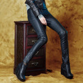 Outono inverno calças de couro pu botas calças lápis calças finas calças de cintura baixa 2015 das mulheres da forma leggings