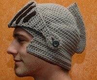 Originaux hiver hommes 6 couleurs bonnet tricoté antique Roma soldat casque laine chapeau Cosplay Costume bricolage main Weave masque chapeau