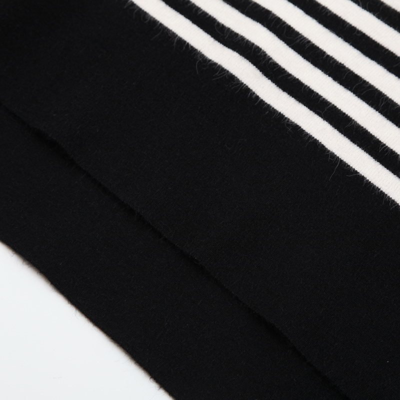 23e9ad8881 Women black white striped sweaters at leisure wear o neck long sleeve thin  Autumn pullover female