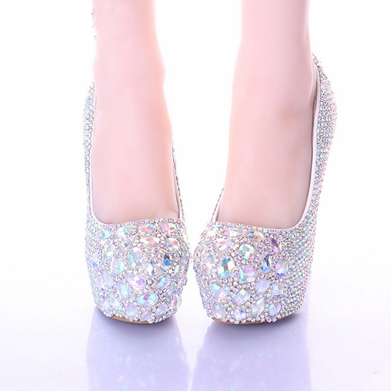 Luxury Sparkly Stiletto Heel Wedding Shoes Crystal Bride Formal Dress Platform Rhinestone Party Prom Heels 10 12 14cm In Women S Pumps From On