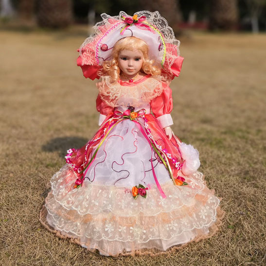 2018 Free ship Hot Sell 41CM European Style Victoria Style Russia Ceramic Classical Doll Noble Porcelain Doll Toy Gift For Girl