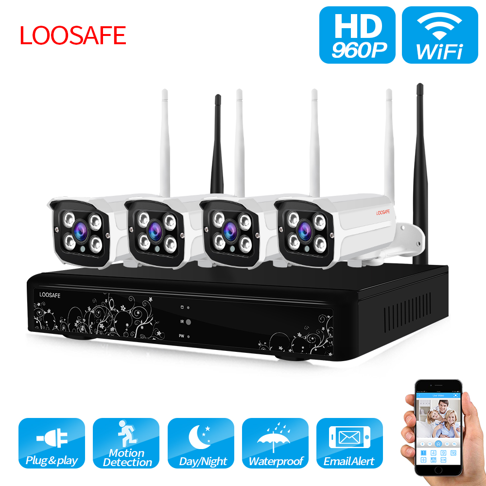 loosafe wifi security camera system nvr kit 960p hd wireless cctv outdoor ip camera system home. Black Bedroom Furniture Sets. Home Design Ideas