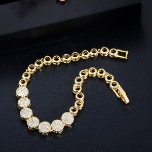 Image 4 - CWWZircons 3 Pcs Hohe Qualität Cubic Zirkon Dubai Gold Halskette Schmuck Set für Frauen Hochzeit Abend Party Kleid Zubehör T349