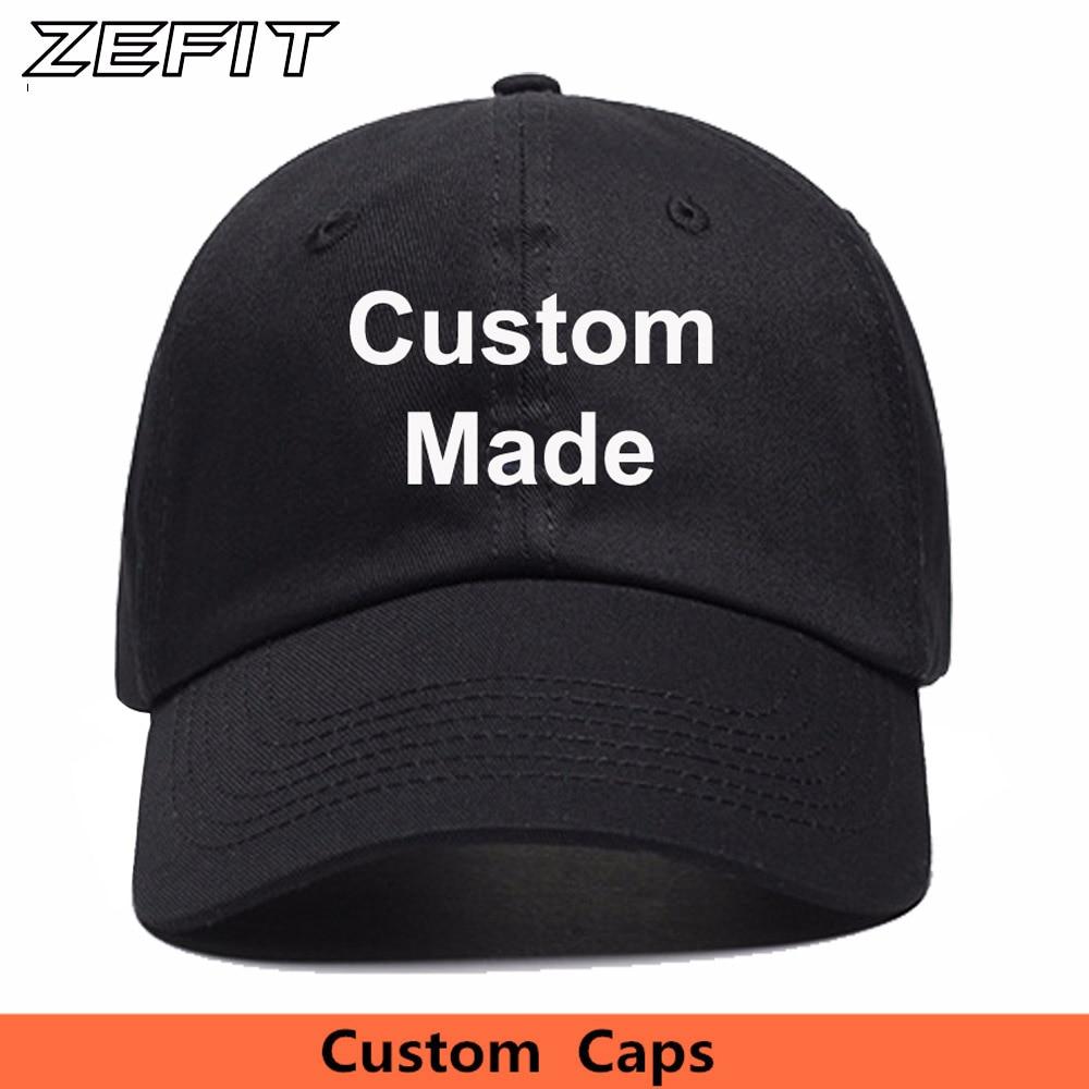 Wholesale 100% Cotton Dad Hat Custom Baseball Cap Snapback Low MOQ Men  Women Print Free Embroidery Logo Fast Shipping-in Baseball Caps from  Apparel ... fc2c8ffbdbd