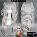 SHENGMEIYUAN New Arrival Charlotte Tomori Nao Wig Long Wavy Gray White Color Cosplay Costume Wigs With Two Ponytails Free ship