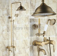 Retro Antique Brass Bathroom Rain Shower Faucet Set Single Handle Mixer Tap with Hand Shower lrs152