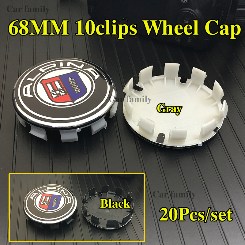 20pcs/set Custom 68mm 10Clips Dust-proof Car Accessories Car Wheel Center <font><b>Hub</b></font> <font><b>caps</b></font> Rims Logo Emblem For <font><b>bmw</b></font> Alpina Blue White image