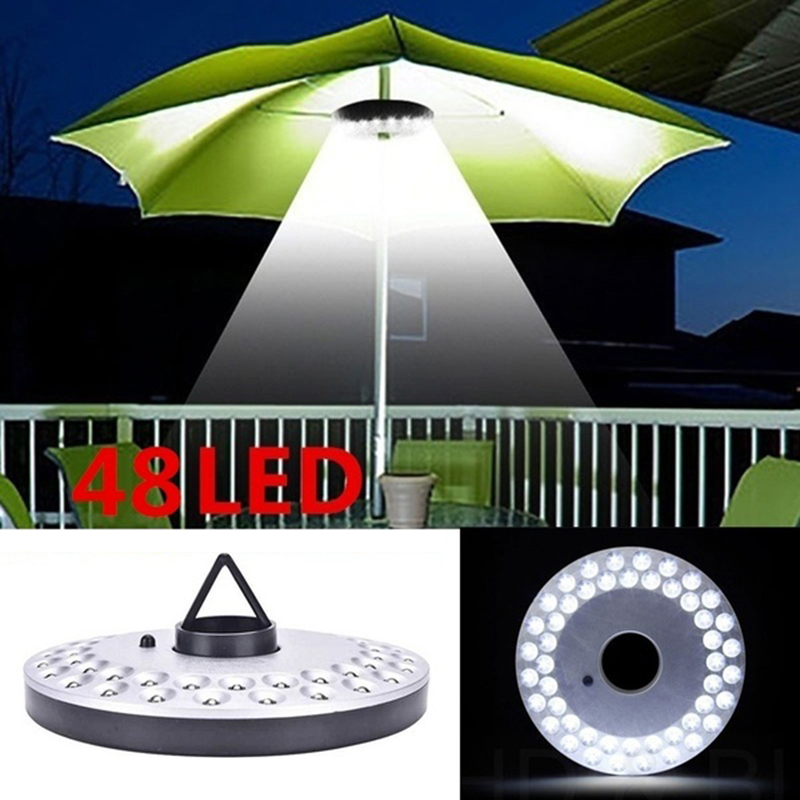 48 LED Lantern Poles Umbrella Light Portable Outdoor Camping Light For Beach Tent Patio Garden Emergency Lights Battery Powered 1