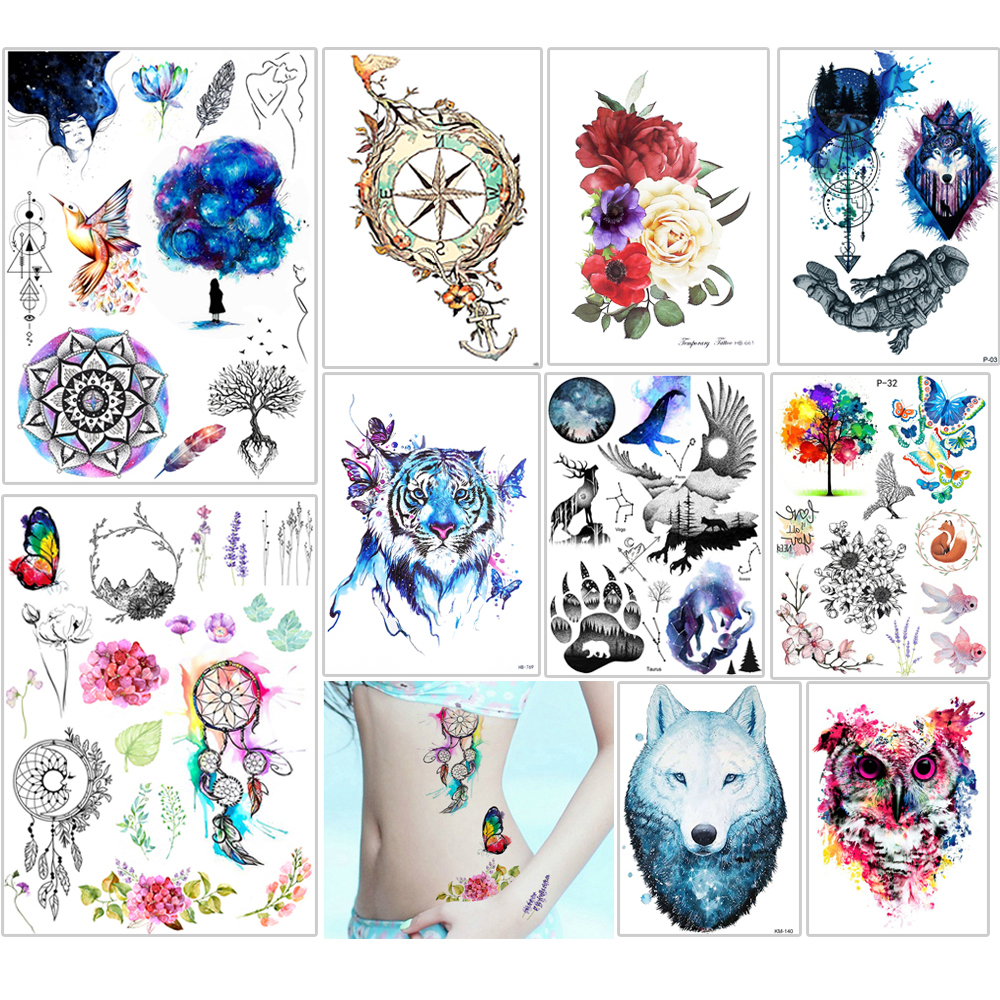 Image 2 - 500 Pieces Wholesale Health Beauty Body Art Temporary Tattoo Henna Jewelry Belle Decal Design Tattoos Sticker Makeup New Arrival-in Temporary Tattoos from Beauty & Health