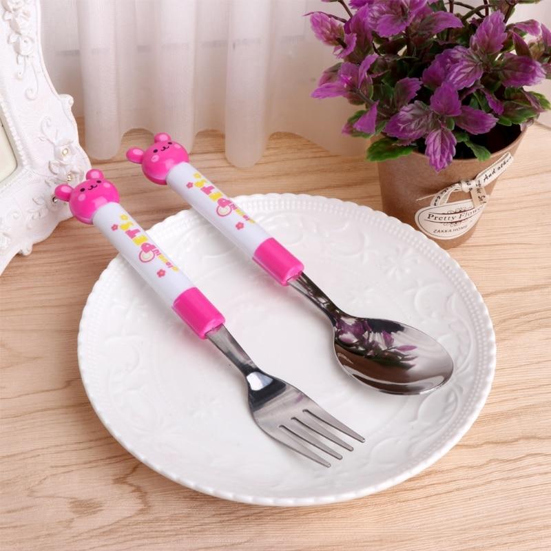 1 Set 2Pcs Baby Spoon Fork Cartoon Baby Safety Stainless Steel Spoon Fork Set Kids Feeding Tableware