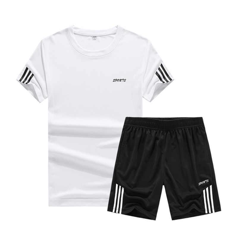 2019 夏セット男性カジュアル二枚スーツ半袖 Tシャツ & ショーツセット男性ストリートトラックショートスポーツウェアセット