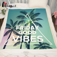 Miracille Tropical Plant Hawaii Styles Plame Tree With Letters Printed Warm Flannel Coral Blankets Throw For Bed Sofa