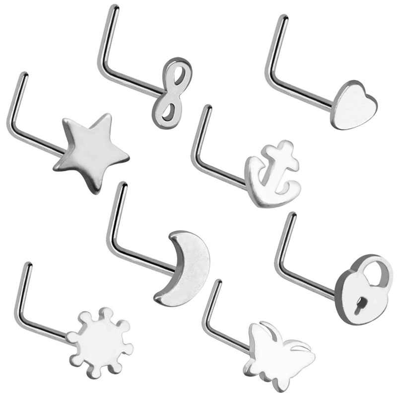 New Fashion 8pcs Lot Steel Multiple L Shapes Nose Piercing Nose