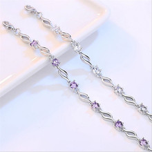 TJP Charm 925 Silver Bracelets Anklets Fashion Women Purple Crystal For Girl Bride Wedding Party Accessories Hot Lady