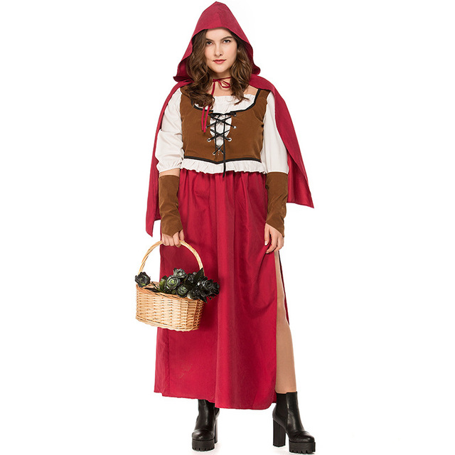 Umorden Adult Women Plus Size Large S-XXL Retro Fairy Tale Little Red Riding Hood Costumes Costume for Purim Halloween Party