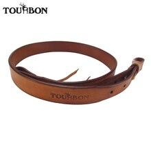 Tourbon Hunting Gun Accessories Leather Rifle Sling Shotgun Belt Shoulder Belts Brown Gun Strap Max Length 105CM for Shooting