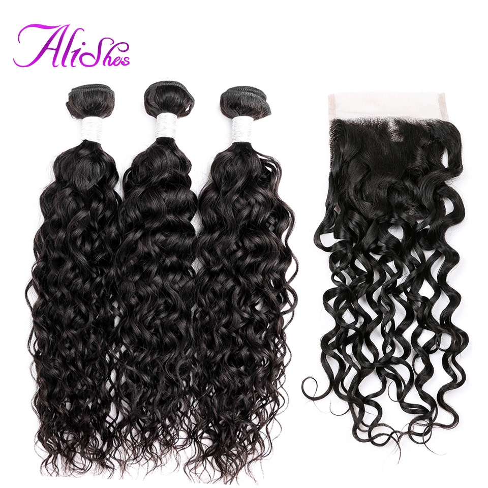 Alishes Human Hair 100g pcs Water Wave Bundles With Closure 4Pcs Lot Non Remy Hair Peruvian