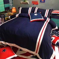 Nordic American fashion bedding set cotton simple British style duvet cover pillowcase stripe blue men's sheets bedding