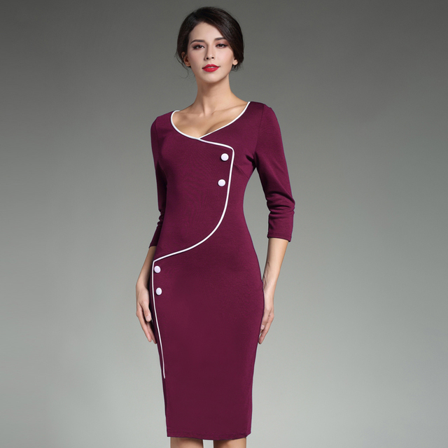 Formal Bleistift Kleider Für Arbeit Wrap Kleid Business Casual ...