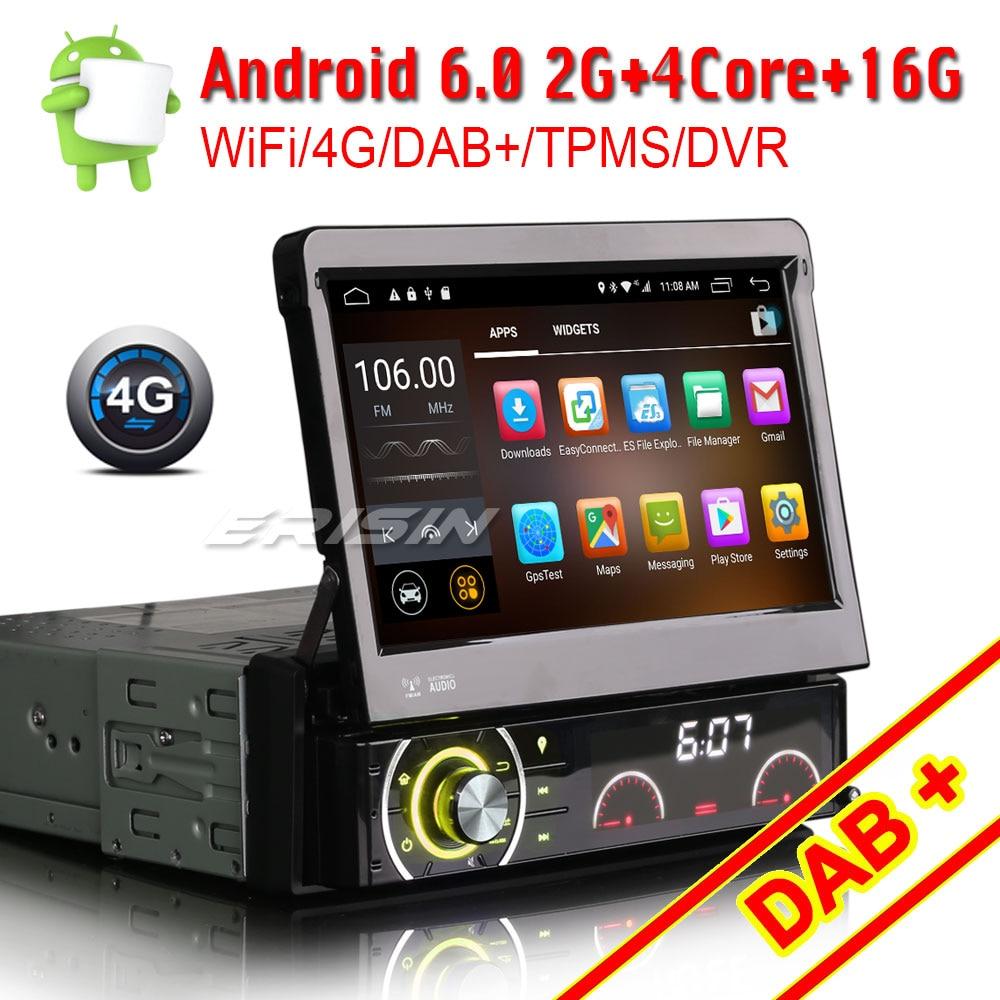 Single 1 DIN Android 8.1 Car DAB Player Stereo Radio Motorized GPS Sat Nav WIFI