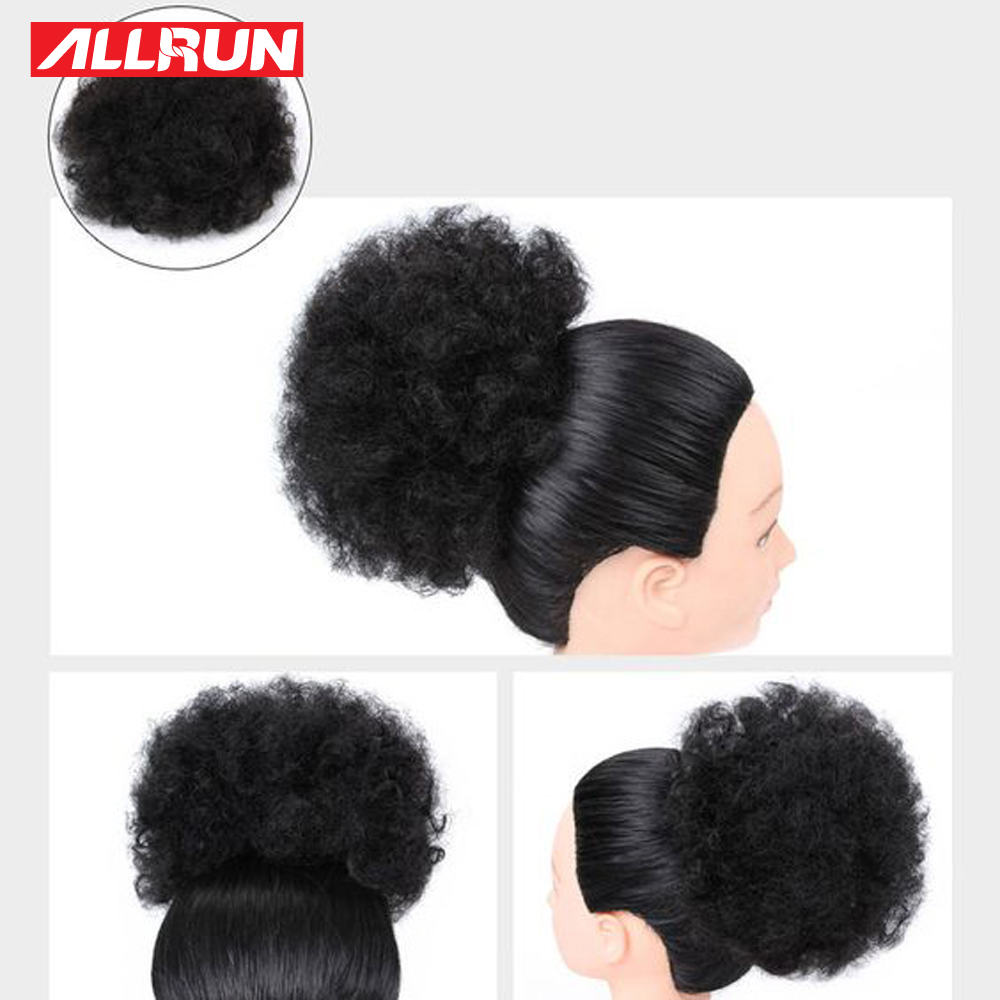 Curly Chignon Afro Kinky Curly Ponytail For Women Drawstring Ponytail With Clips Allrun Peruvian Non Remy Human Hair Natural Hair Pieces