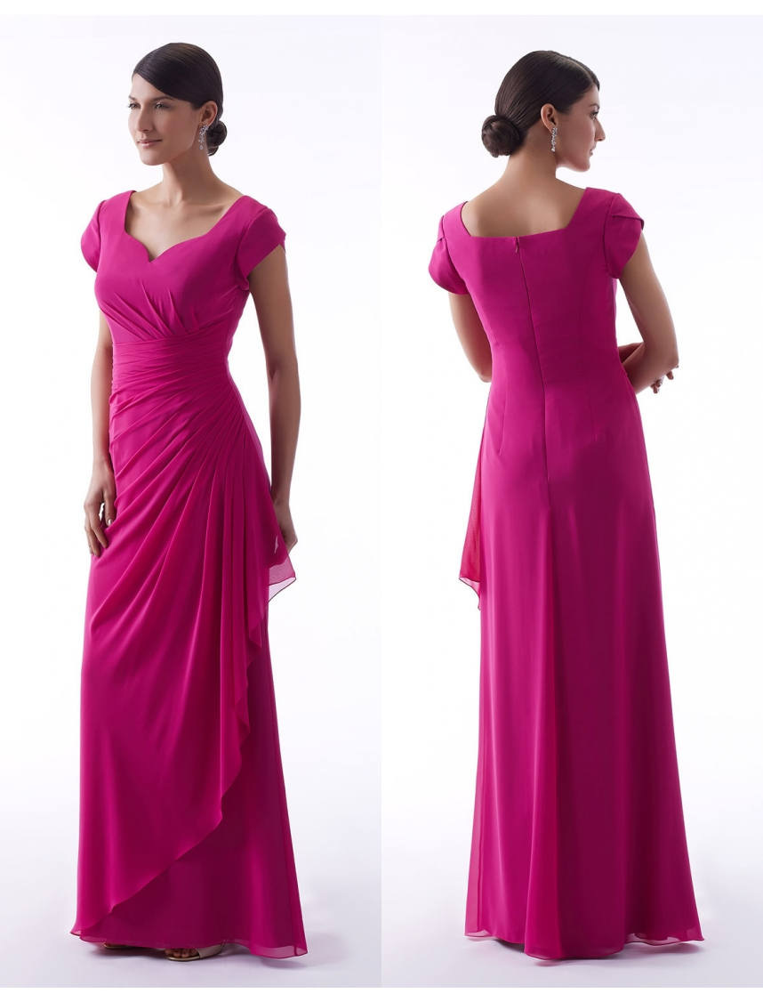Fuchsia Long 2019 Modest   Bridesmaid     Dresses   With Cap Sleeves Sweetheart A-line Floor Length Summer Formal Women Party Gowns New