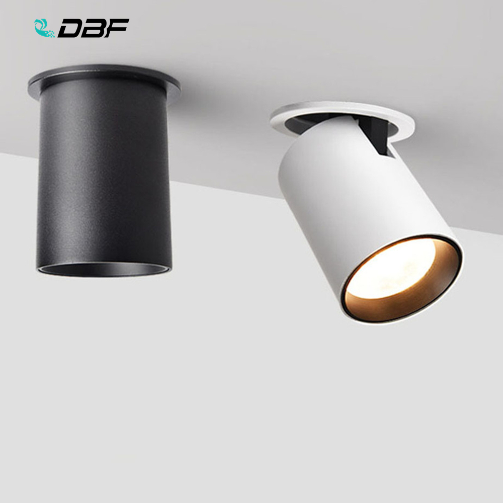 [DBF]Foldable LED Ceiling Recessed Light 7W 12W LED Spot Lights Living Room TV Background Wall Aisle Ceiling COB Downlight