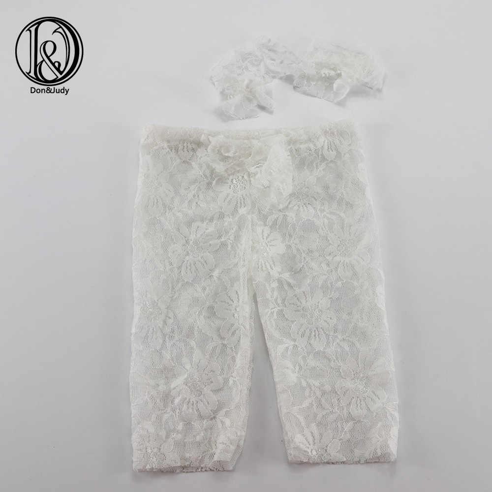Ręcznie robione małe chryzantemy Stretch koronki spodnie z dopasowane z pałąkiem na głowę (pełny zestaw) Baby Shower prezent noworodka Photograp