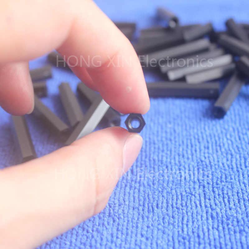 M3 * 8 черный 1 шт. нейлон 8 мм Hex женщина-женщина противостояние Spacer резьбой шестиугольная прокладка/шайба пластиковая стойка Spacer высокого качества