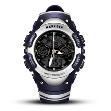 WAKNOER Top Brand Mens Watches Luxury Men's LED Digital Analog Quartz Watch Outdoor Sports Wrist watch Waterproof Saat Clock
