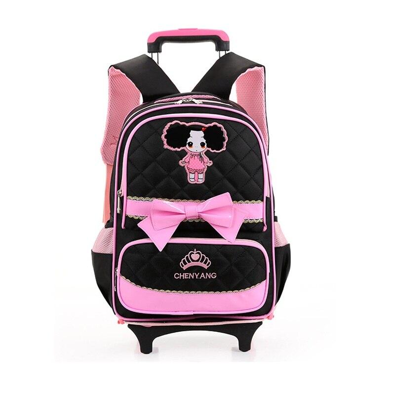 ФОТО New Korean Cartoon Trolley Bags Lightening Shoulders Backpack Primary Children School Bags for Boys Girls