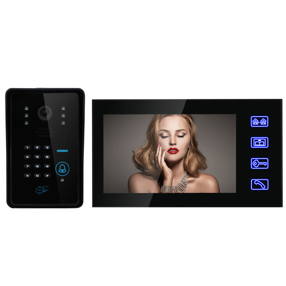 Touch Key 7 inch LCD Monitor Wired RFID Password Video Door Phone Intercom Remote System Door Bell FREE SHIPPING erichkrause мешок для сменной обуви барбариска бежевый