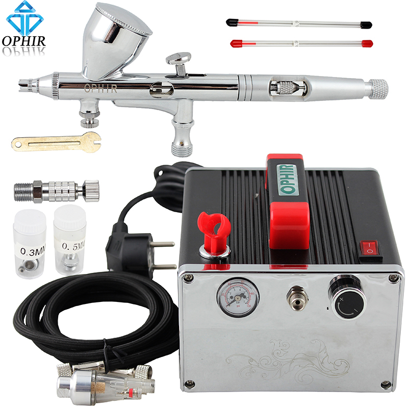 OPHIR PRO Airbrush Kit with Air Compressor Air Brush Gun Paint for Nail Art Model Paint Tanning Cake Air-brush Set _AC091+AC070 ophir 3 tips dual action airbrush gravity paint air brush with 110v 220v air tank compressor for nail art body paint ac090 070