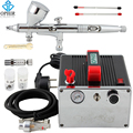 OPHIR PRO Airbrush Kit with Air Compressor Air Brush Gun Paint for Nail Art Model Paint Tanning Cake Air-brush Set _AC091+AC070
