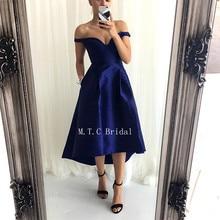 9ec45bf9809 Dark Blue Satin High Low Prom Dresses 2019 Sexy Off The Shoulder Tea Length  Simple Evening