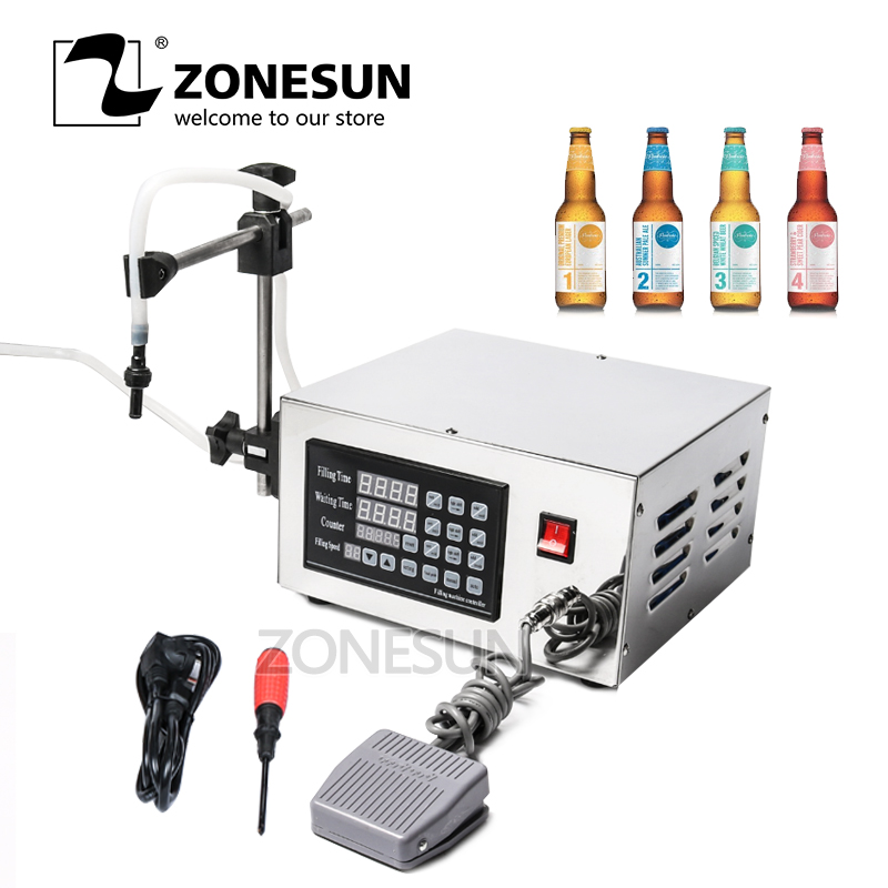 ZONESUN Semi Automatic Membrance Pump Liquid Smooth Operation Alcohol Long Continuous Filling Machine Water Filler KC-280